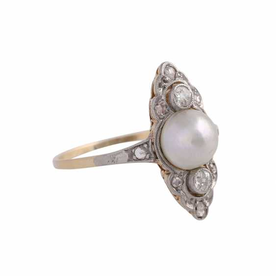 Ring with cultured pearl approx 6,5 mm and diamonds - photo 2