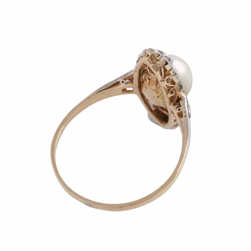 Ring with cultured pearl approx 6,5 mm and diamonds - photo 3