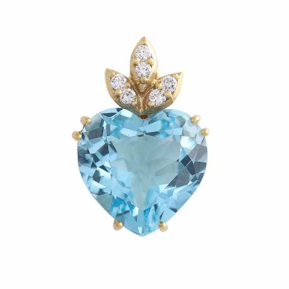 Pendant with 1 blue Topaz heart faceted shaped, - photo 1