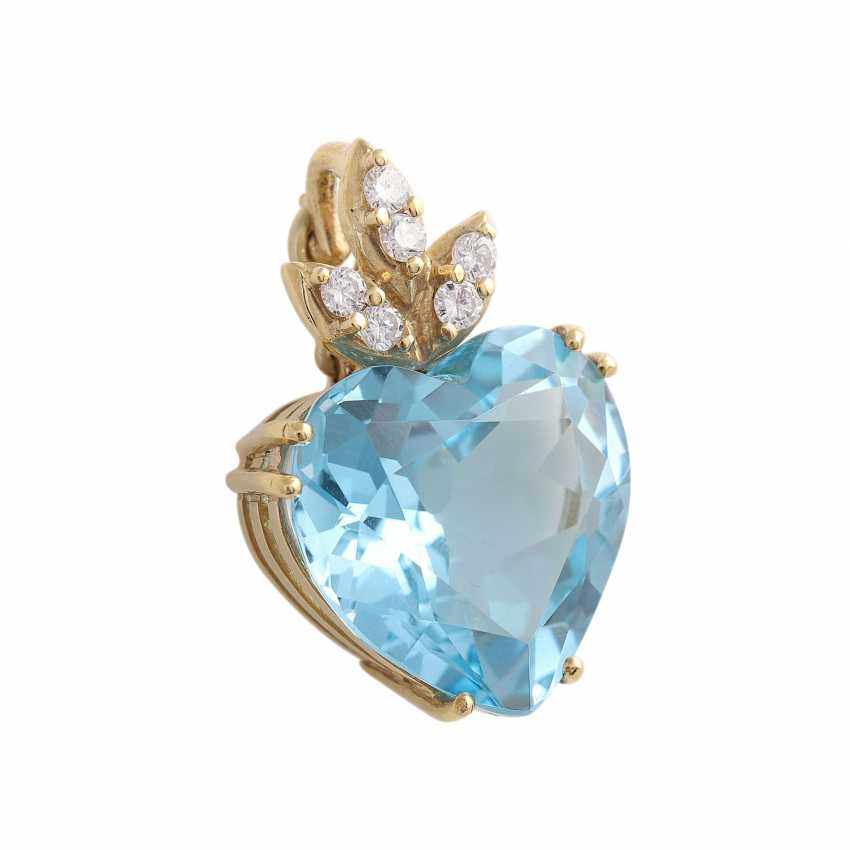 Pendant with 1 blue Topaz heart faceted shaped, - photo 2