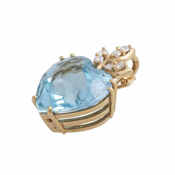 Pendant with 1 blue Topaz heart faceted shaped, - photo 3