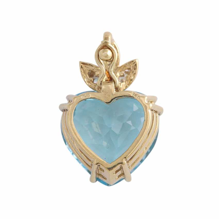 Pendant with 1 blue Topaz heart faceted shaped, - photo 4