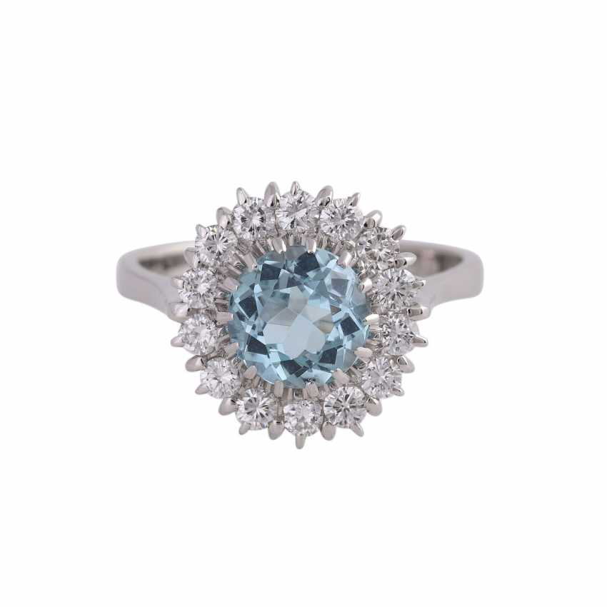 Ring with 1 fine aquamarine, round faceted, approximately 1.7 ct - photo 1