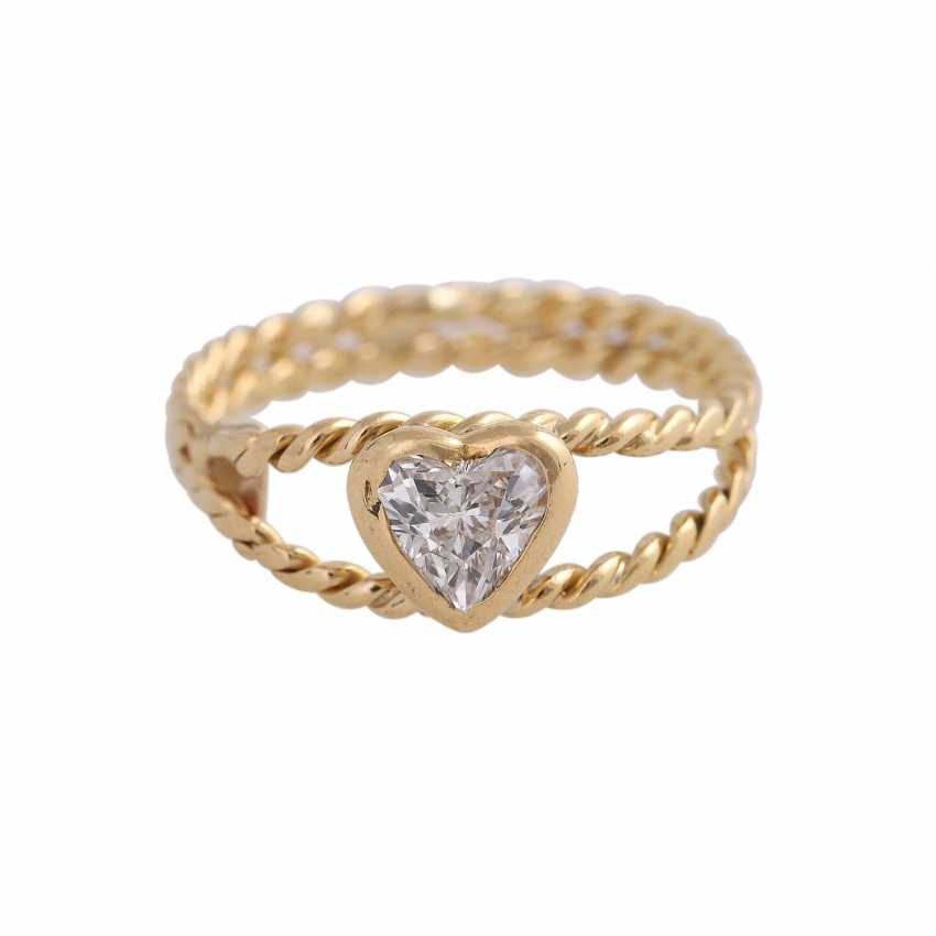 Ring with diamond heart, approx 0.25 ct - photo 1