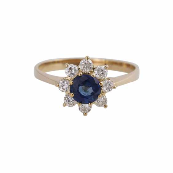 Ring with 1 fine sapphire, round fac., approx 1 ct, - photo 2