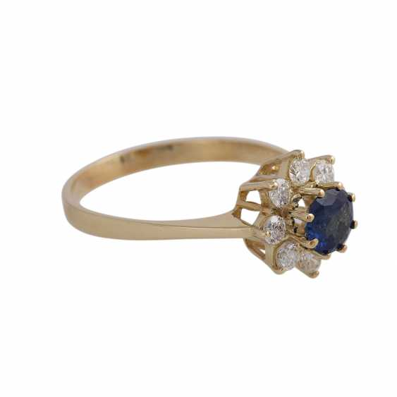 Ring with 1 fine sapphire, round fac., approx 1 ct, - photo 3