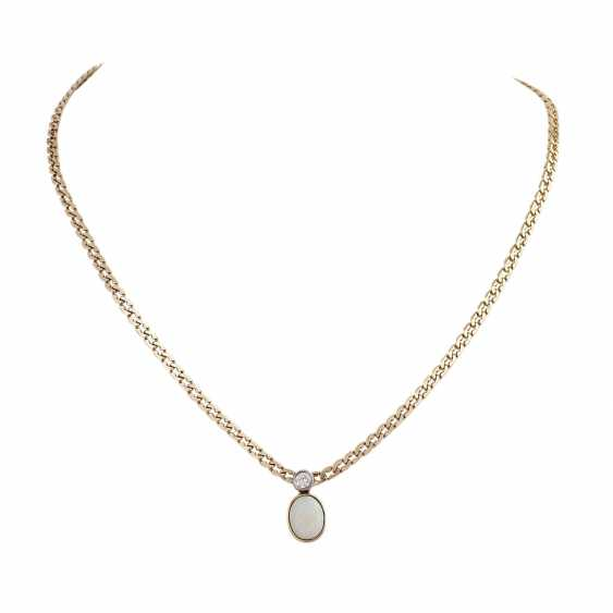 Flat armor necklace with Opal approx 1.2 ct and brilliant - photo 1