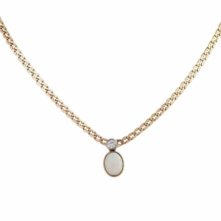 Flat armor necklace with Opal approx 1.2 ct and brilliant - photo 2