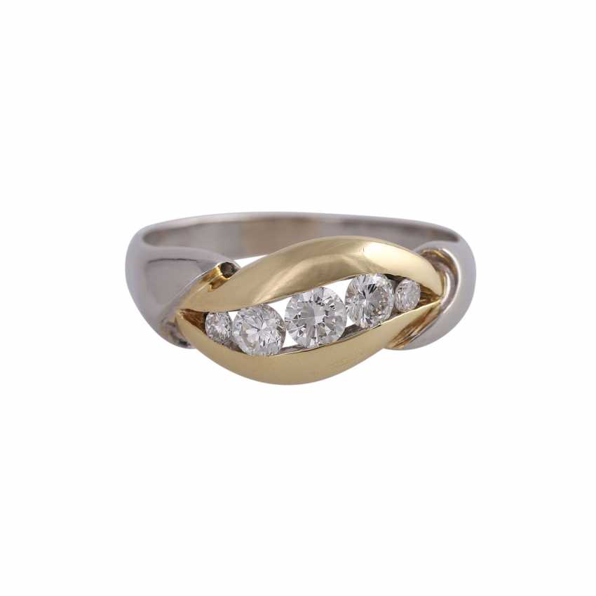 Ring with 5 diamonds, approx 0.5 ct, WHITE (H)/ VS-VVS, - photo 1