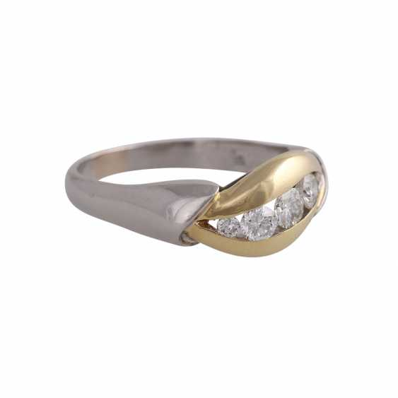 Ring with 5 diamonds, approx 0.5 ct, WHITE (H)/ VS-VVS, - photo 2