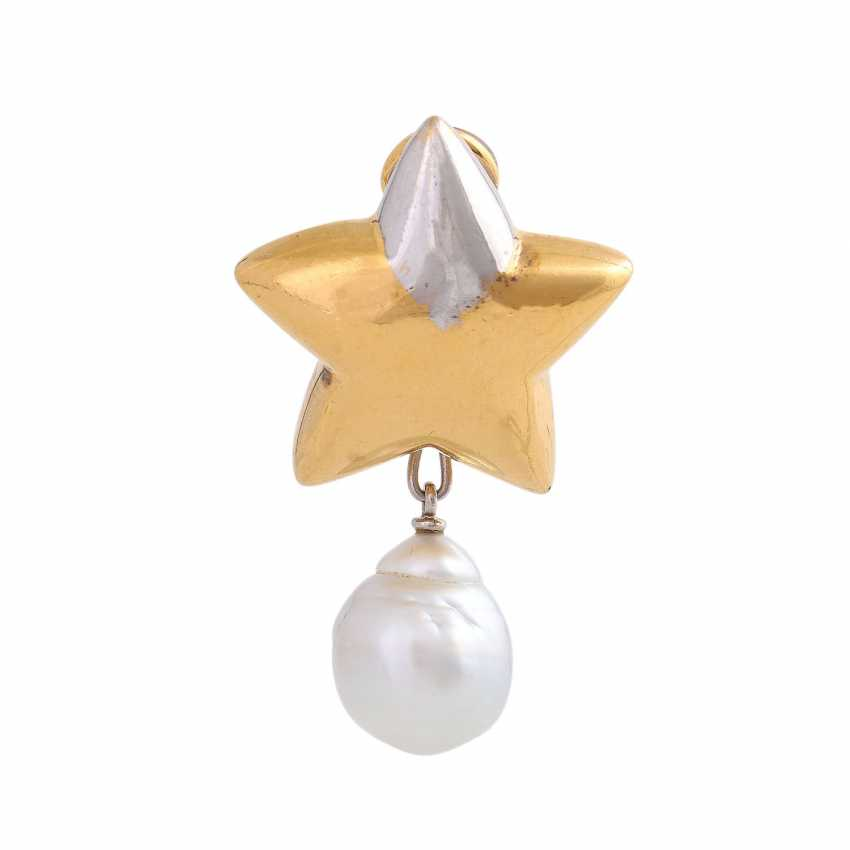 """Single ear clip """"star"""" with 1 drop-shaped South sea pearl - photo 1"""