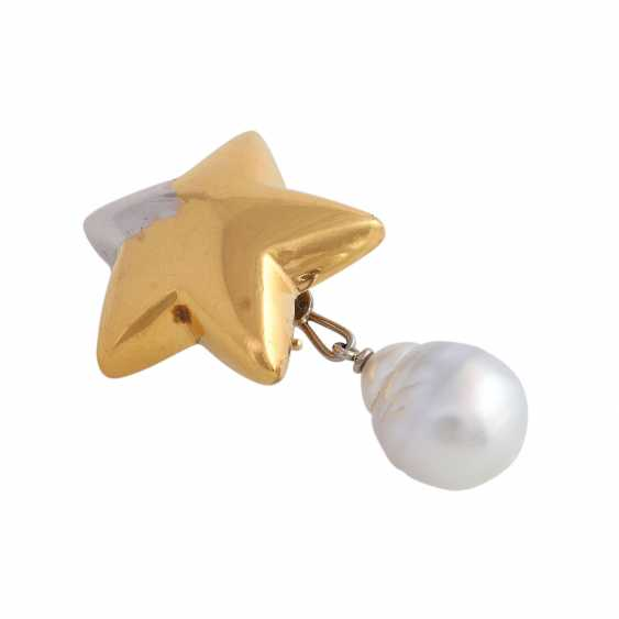 """Single ear clip """"star"""" with 1 drop-shaped South sea pearl - photo 3"""