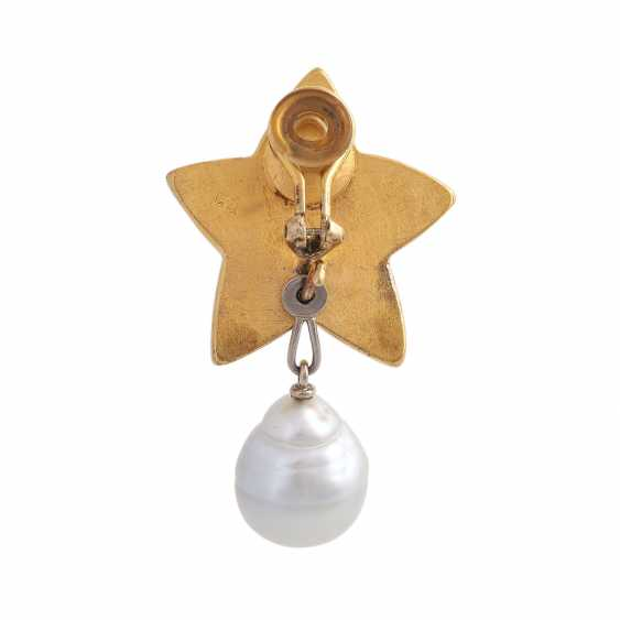 """Single ear clip """"star"""" with 1 drop-shaped South sea pearl - photo 4"""