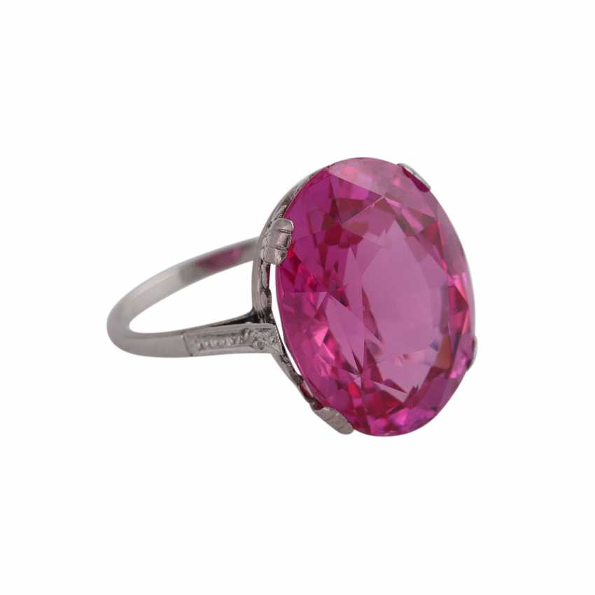 Ring with synth. Sapphire, pink, faceted oval, min. spine - photo 2