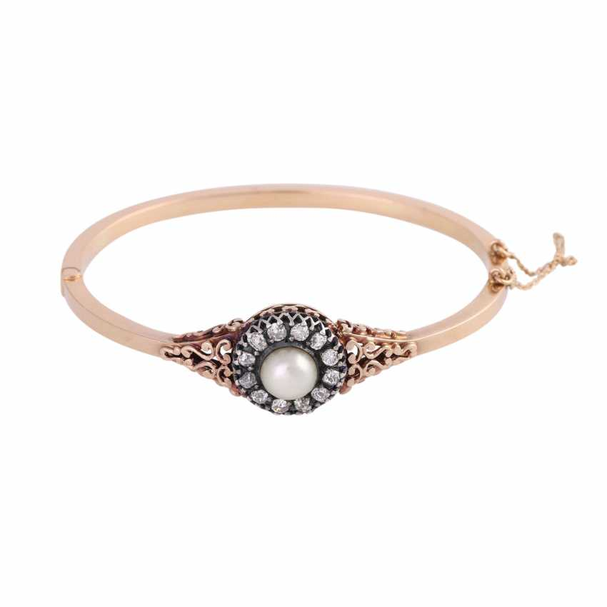 Hinge bangle with 1 cultured pearl of approximately 7.5 mm and diamonds - photo 1