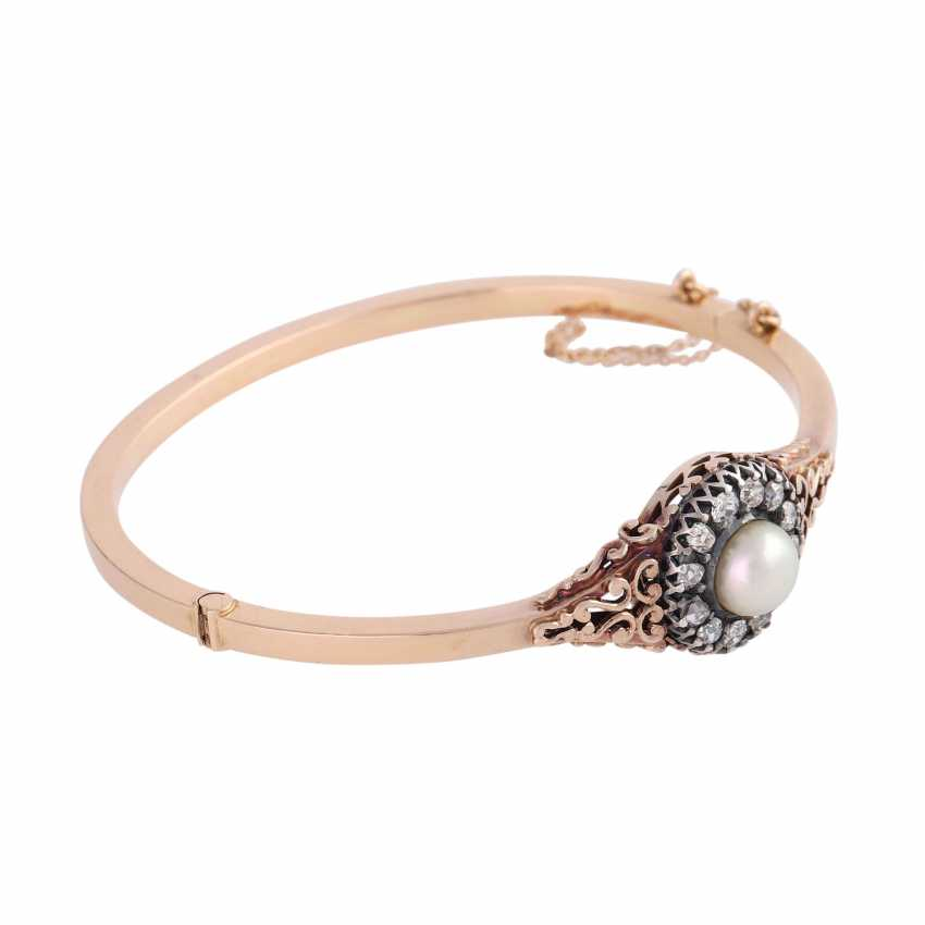 Hinge bangle with 1 cultured pearl of approximately 7.5 mm and diamonds - photo 2