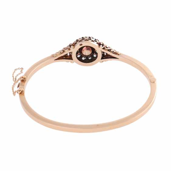 Hinge bangle with 1 cultured pearl of approximately 7.5 mm and diamonds - photo 3