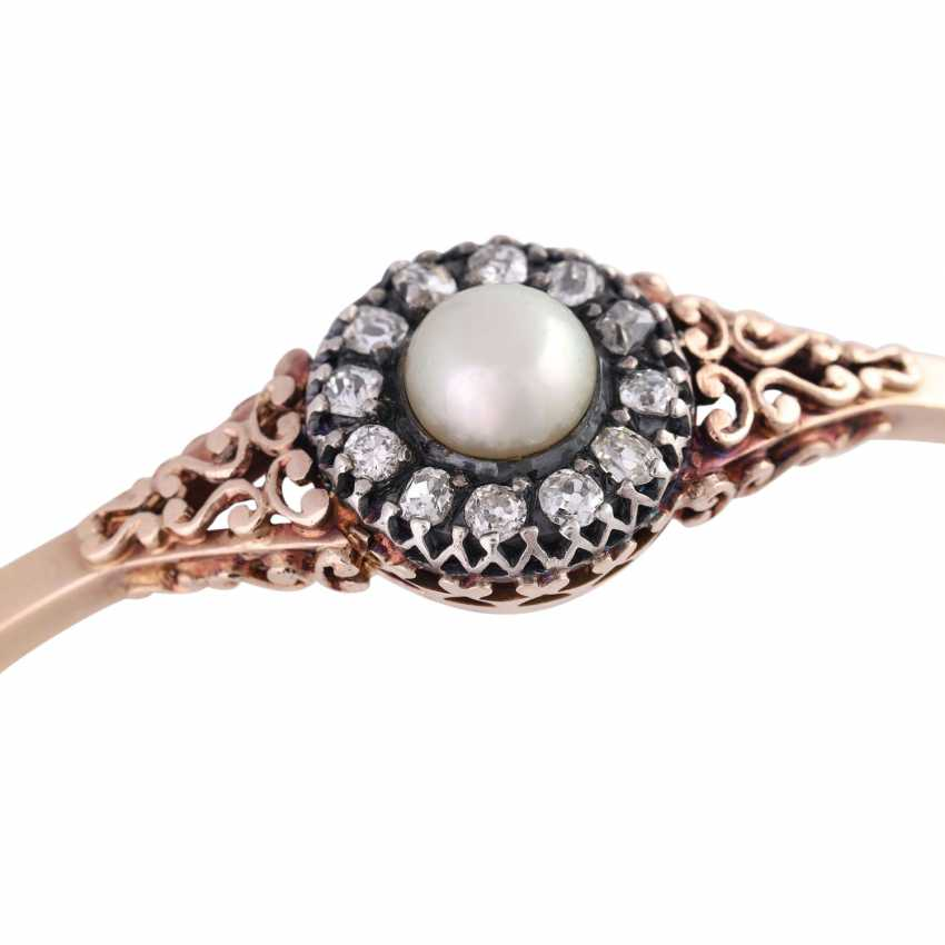 Hinge bangle with 1 cultured pearl of approximately 7.5 mm and diamonds - photo 4