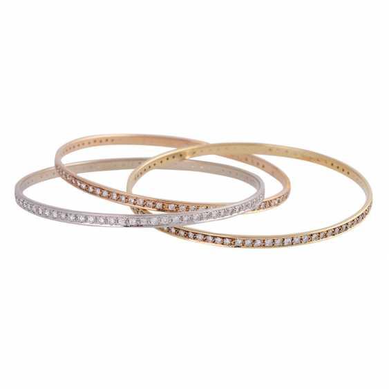 Bangle bracelet 3-piece set with 236 brilliant-cut diamonds, together approx 5 ct, - photo 2