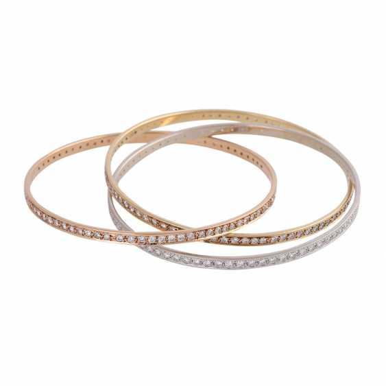 Bangle bracelet 3-piece set with 236 brilliant-cut diamonds, together approx 5 ct, - photo 3