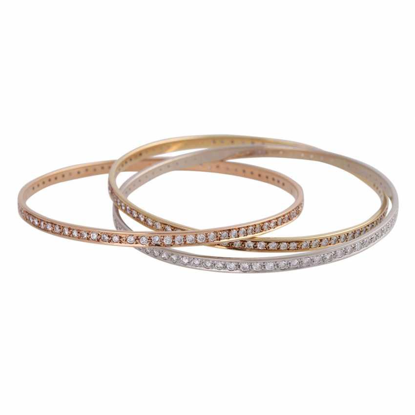 Bangle bracelet 3-piece set with 236 brilliant-cut diamonds, together approx 5 ct, - photo 4