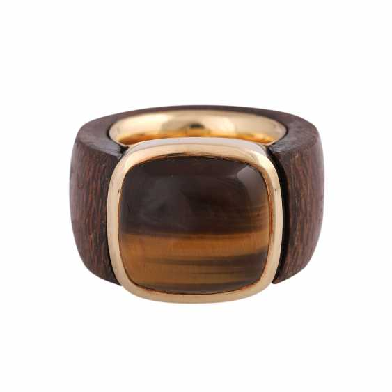 Ring made of wood with tiger's eye - photo 1
