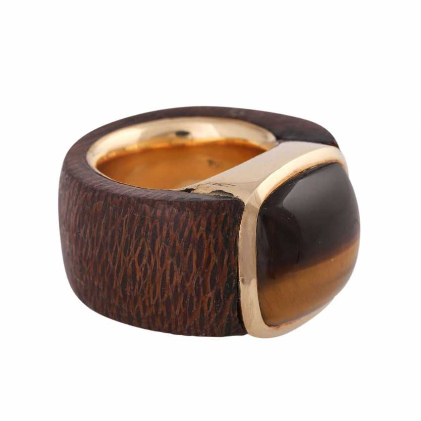 Ring made of wood with tiger's eye - photo 2