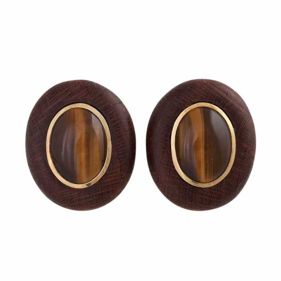 Clip-on earrings made of wood with tiger's eye cabochons - photo 1