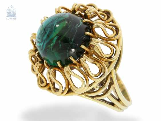 Ring: interesting, hand-crafted age gold ring with tourmaline finishing forging - photo 2