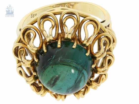 Ring: interesting, hand-crafted age gold ring with tourmaline finishing forging - photo 3