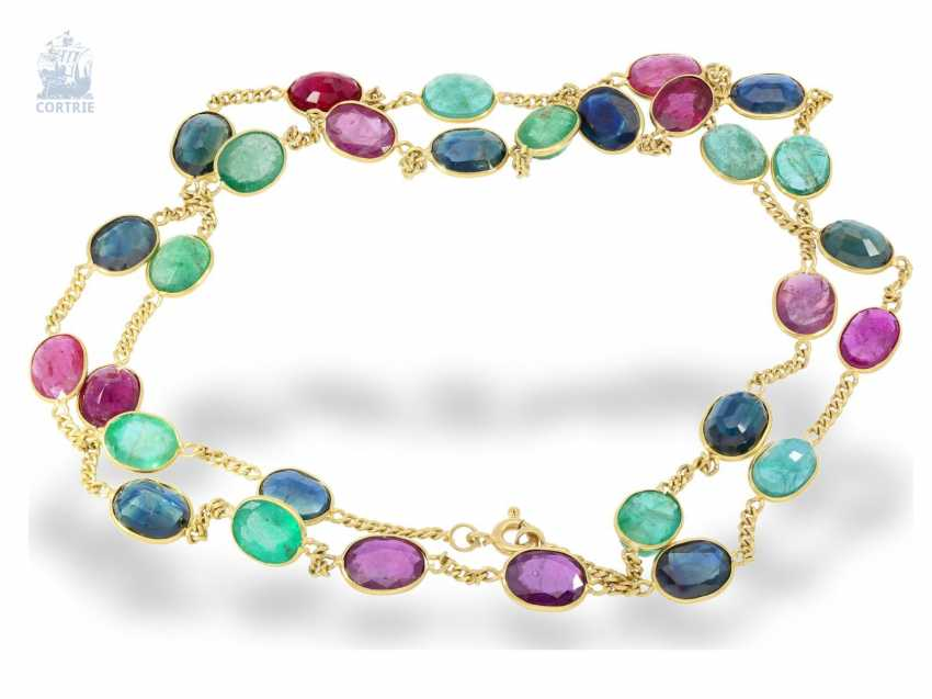 Necklace/Collier: very decorative vintage Multicolor gold necklace with emerald-, sapphire - and ruby trim, color stones of. 30ct - photo 1