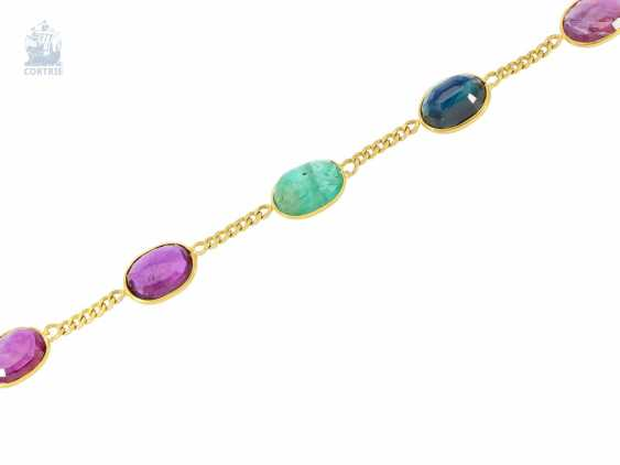Necklace/Collier: very decorative vintage Multicolor gold necklace with emerald-, sapphire - and ruby trim, color stones of. 30ct - photo 2