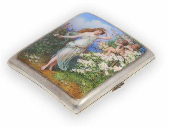 Case: decorative, antique cigarette case made of silver, art Nouveau around 1910, enamel magnifying glass painting - photo 2