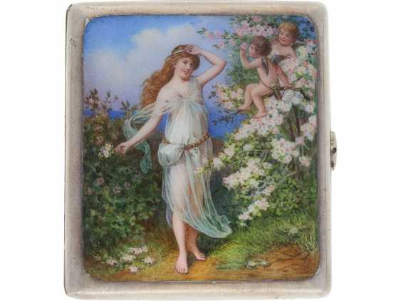 Case: decorative, antique cigarette case made of silver, art Nouveau around 1910, enamel magnifying glass painting - photo 3