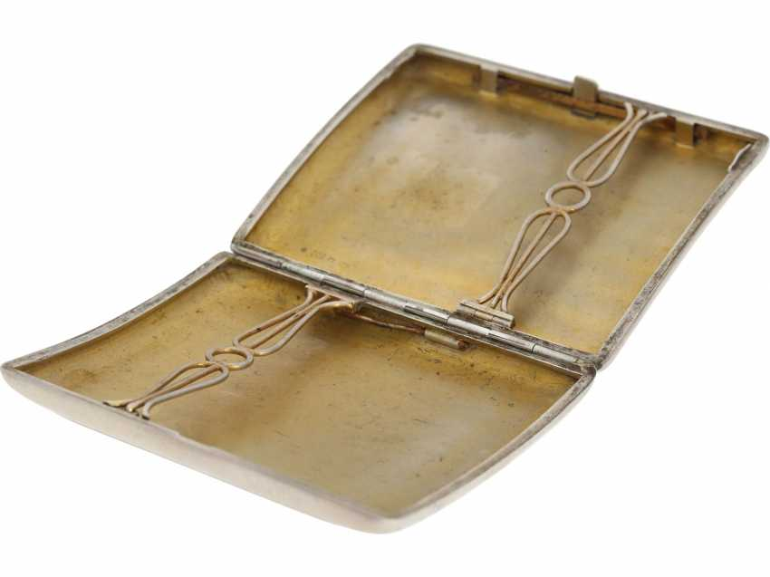 Case: decorative, antique cigarette case made of silver, art Nouveau around 1910, enamel magnifying glass painting - photo 4