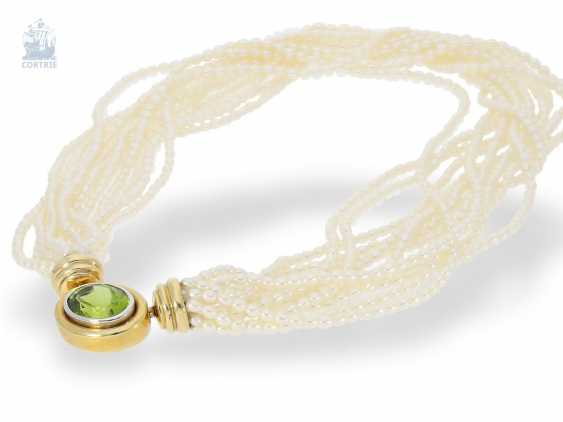 Necklace/Collier: multi-cultured pearl necklace with 18K tourmaline-row and very high-quality Patent-exchange closing - photo 1
