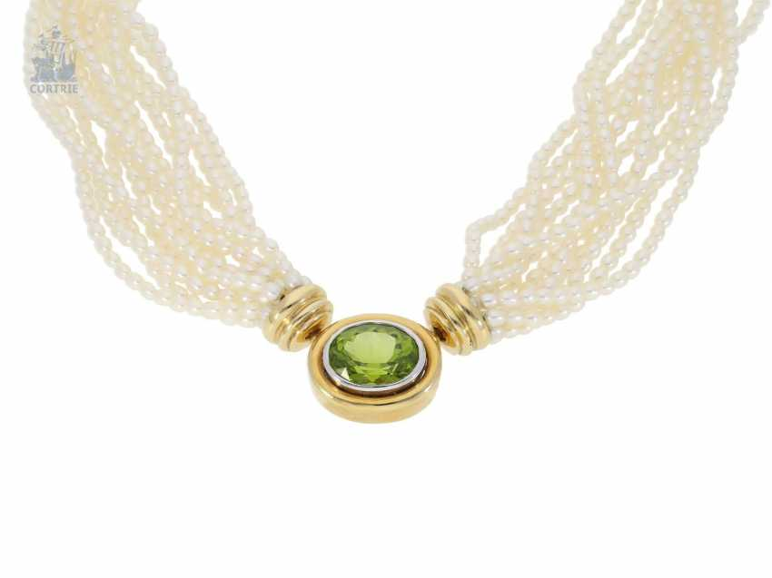 Necklace/Collier: multi-cultured pearl necklace with 18K tourmaline-row and very high-quality Patent-exchange closing - photo 2