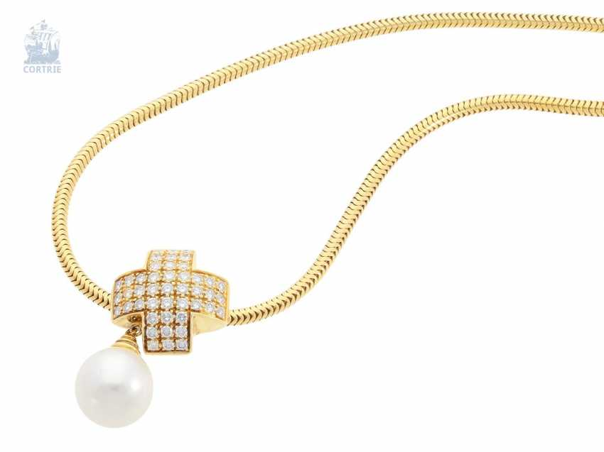 Chain/necklace/pendant: a classic snake chain with a high-quality Wempe pearl/brilliant-gold forged pendant, approximately 0.9 ct, 14K/18K yellow gold - photo 2