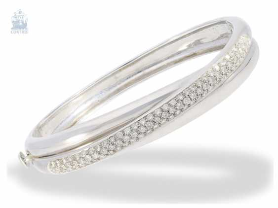 Bangle bracelet: a modern, formerly the more expensive bracelet with brilliant trim, approx. 2ct, Italian goldsmiths ' work from 18K white gold - photo 1
