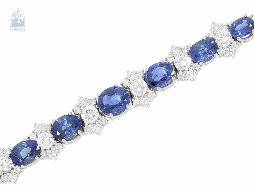 Bracelet: valuable and elaborately crafted vintage sapphire/brilliant-wrought gold bracelet, approx. 8ct, crafted from 18K white gold - photo 1