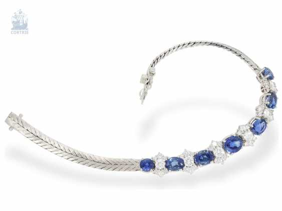 Bracelet: valuable and elaborately crafted vintage sapphire/brilliant-wrought gold bracelet, approx. 8ct, crafted from 18K white gold - photo 3