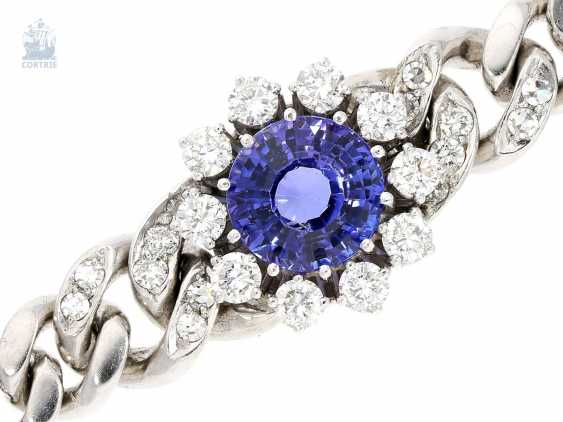 Bracelet: very valuable and massive tanzanite/brilliant-wrought gold bracelet, solid hand made of 14K white gold, approx. 4,2 ct - photo 1