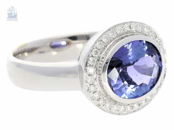 Ring: high quality gold ring with tanzanite in top quality and fine brilliant blacksmith, mint - photo 2