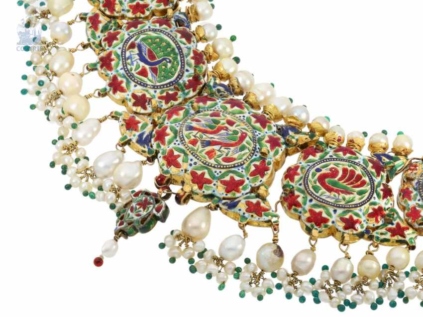 Chain/necklace: antique, very rare Indian wedding jewelry with fine rubies, pearls, emeralds and diamonds, the reverse enamelled side, probably 1.Half of the 20. Century. - photo 2