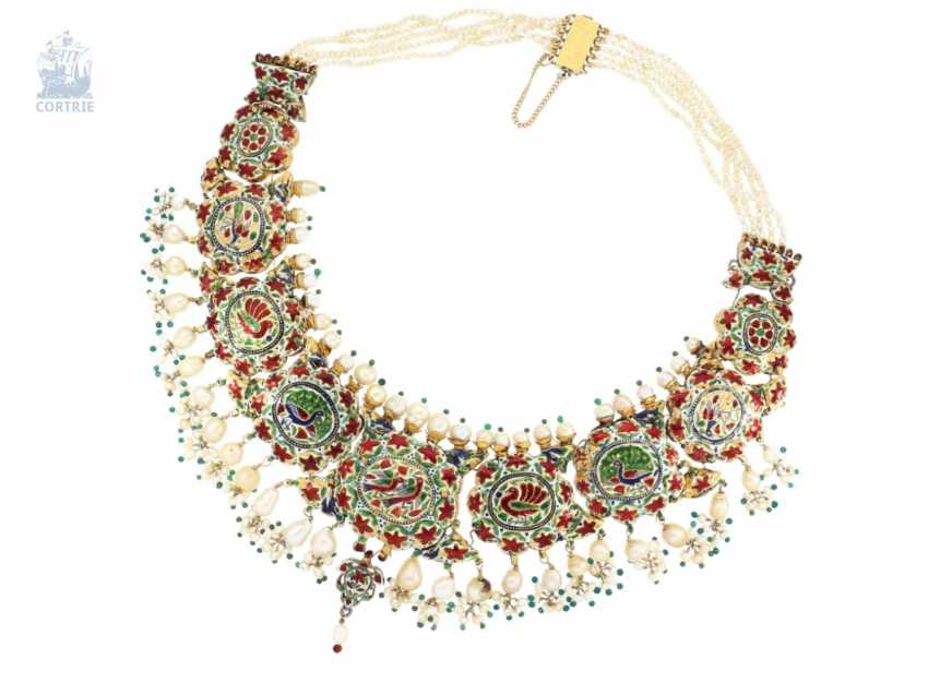 Chain/necklace: antique, very rare Indian wedding jewelry with fine rubies, pearls, emeralds and diamonds, the reverse enamelled side, probably 1.Half of the 20. Century. - photo 4
