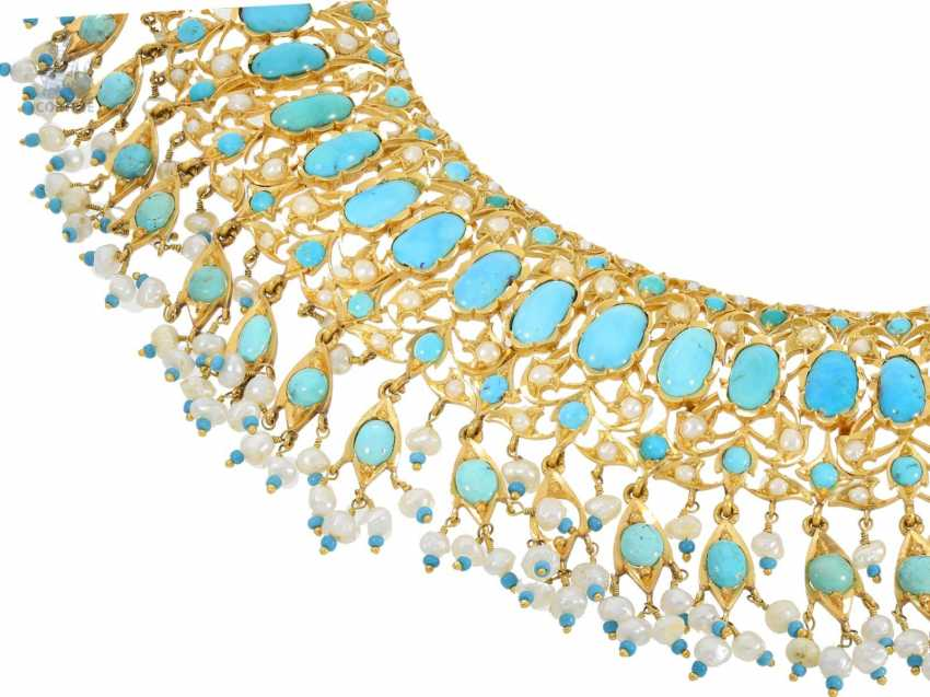 Chain/necklace: ancient, extremely high-quality Indian wedding jewelry, studded with the finest rubies and Turquoise and pearls, probably 1. Half of the 20. Century. - photo 3