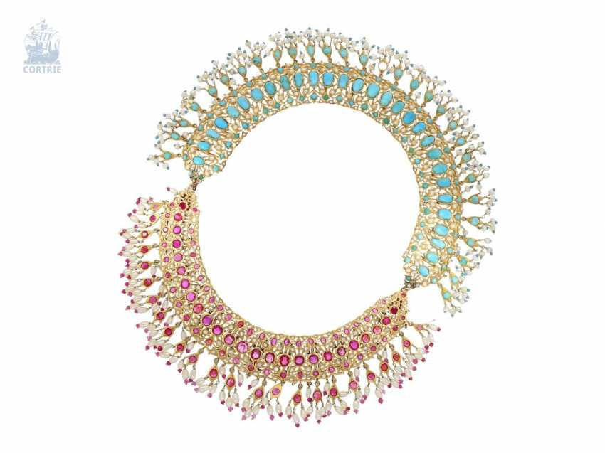 Chain/necklace: ancient, extremely high-quality Indian wedding jewelry, studded with the finest rubies and Turquoise and pearls, probably 1. Half of the 20. Century. - photo 4