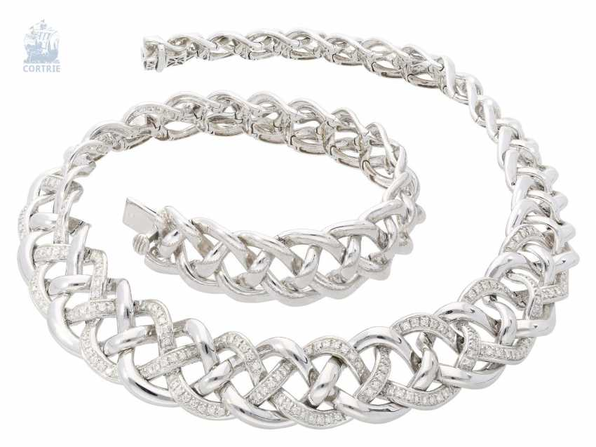 Chain/necklace very heavy and highly decorative, formerly very expensive white gold and diamond necklace by Wempe, approx. 3,5 ct., elaborate hand work made of 18K white gold - photo 1