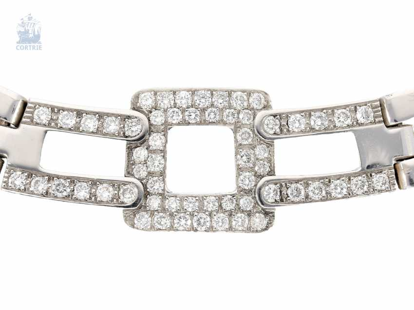 Chain/necklace: modern, extremely heavy, and formerly very expensive brilliant gold wrought necklace, brand jewelry 18K white gold - photo 1