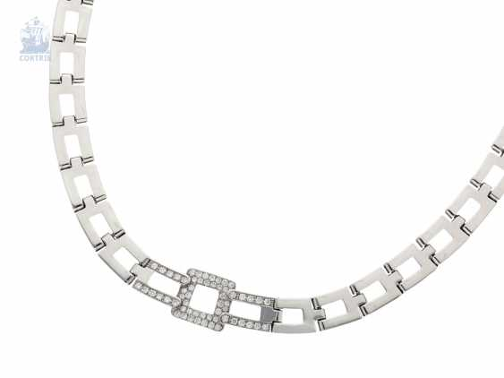 Chain/necklace: modern, extremely heavy, and formerly very expensive brilliant gold wrought necklace, brand jewelry 18K white gold - photo 2
